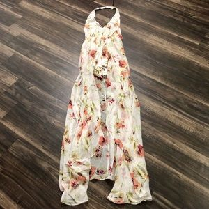 BNWT Shinestar Floral Skirted Backless Maxi Romper